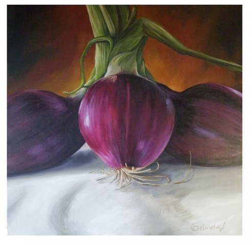 Red Onions - Contemporary Artworks for sale by Central Coast NSW Artist - Belinda Lindhardt