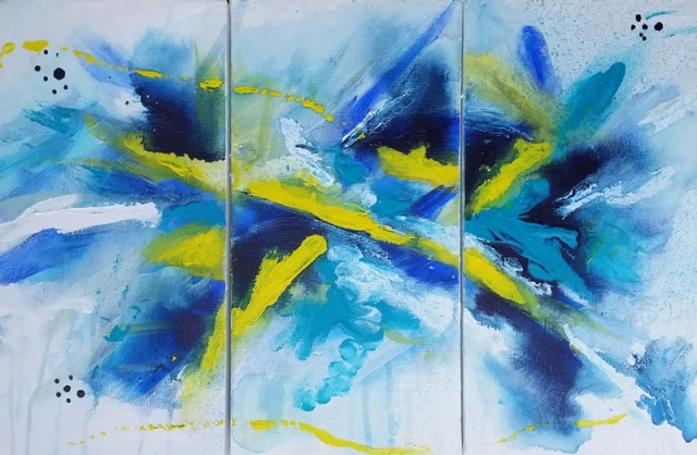 Blue Abstract Painting - Triptuch by Artist Belinda Lindhardt Ref: 041