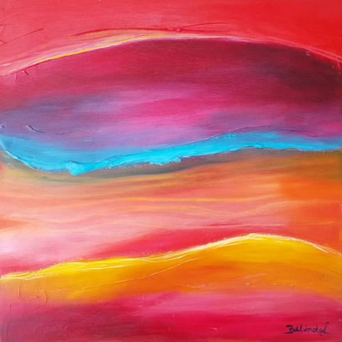 Red Abstract  Painting -  Artwork Central Coast NSW artist Belinda Lindhardt