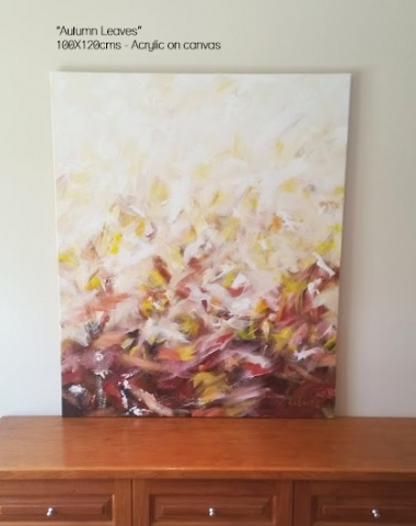 Autumn Inspired abstract artwork - art on consignment central coast nsw