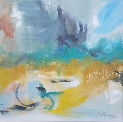 Abstract Beach Inspired Artwork by Central Coast Artist Belinda Lindhardt - Ref: P030