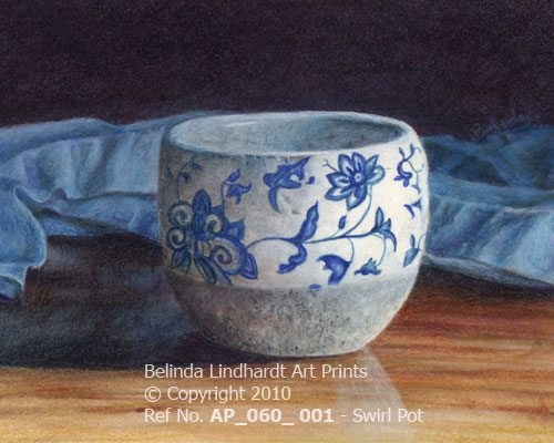 Blue Swirl Pot - Coloured Pencil Artwork by Australian Artist Belinda Lindhardt