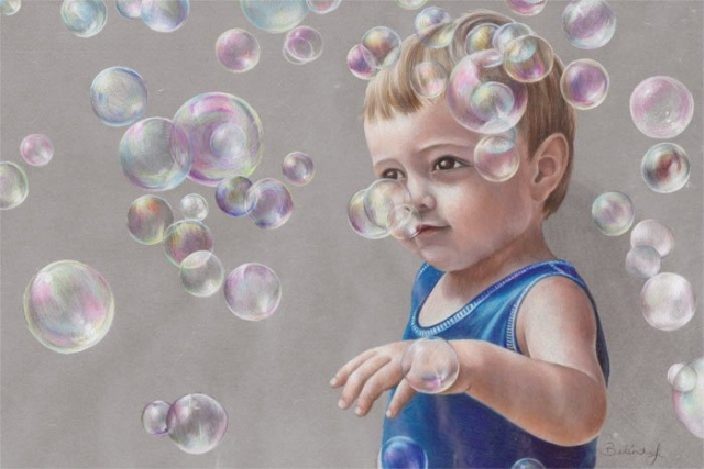 Maxy's Bubbles - Coloured Pencil Portrait by Australian Artist Belinda Lindhardt
