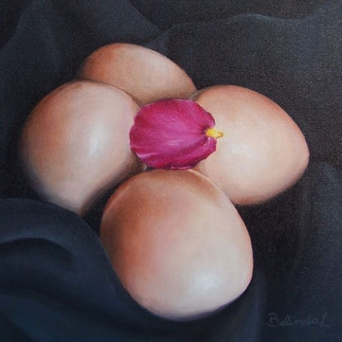 Eggs with Petal - Contemporary Artworks for sale by Central Coast NSW Artist - Belinda Lindhardt