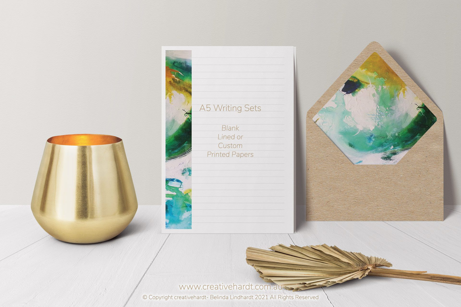 A5 Writing Set - Abstract Design with Enevelopes - by Australian Artist Belinda Lindhardt