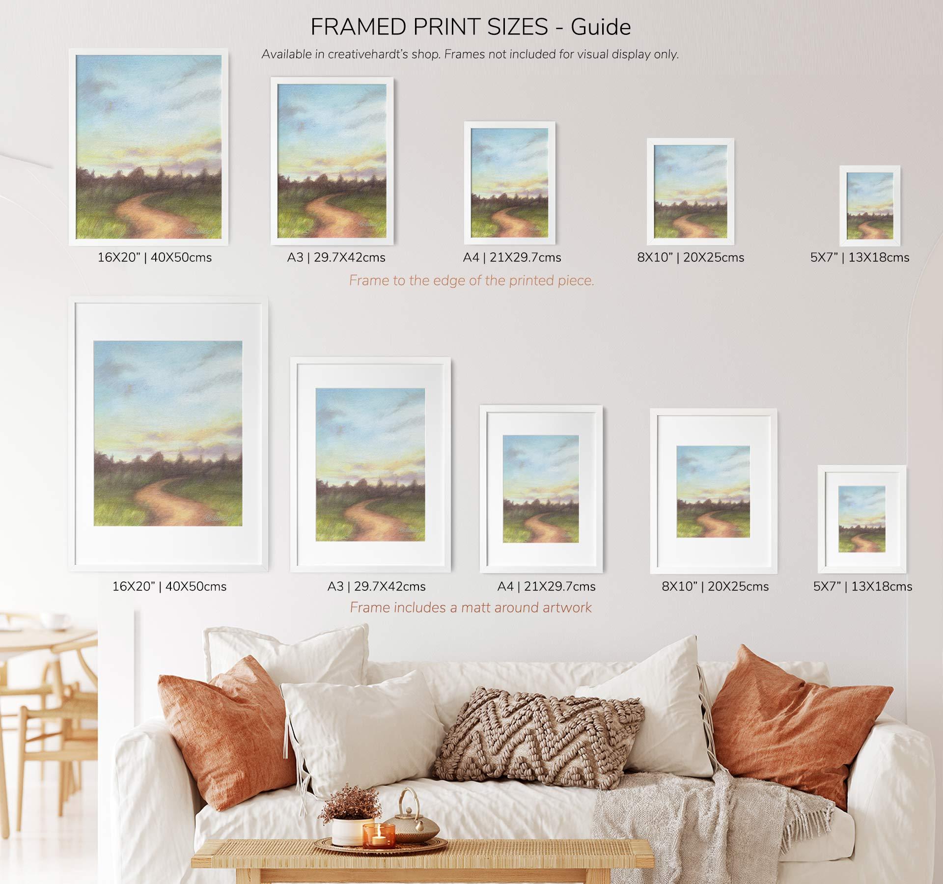 Art Prints Size Guide - creativehardt