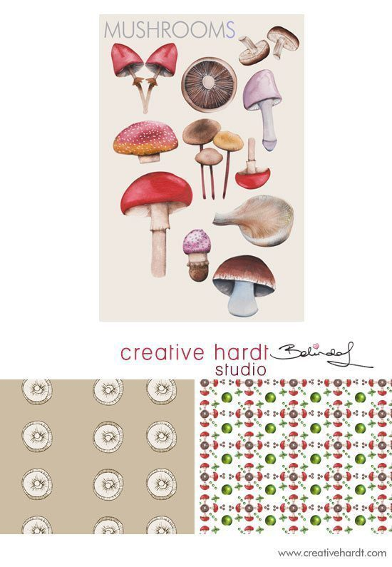 Bolt Fabric Design - Mushrooms - Belinda Lindhardt - Australian Artist & Illustrator