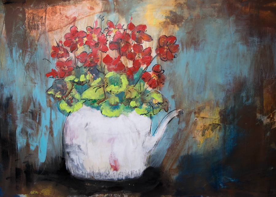 Mixed Media Art Class Demo – Mixed Pot #mixedmedia