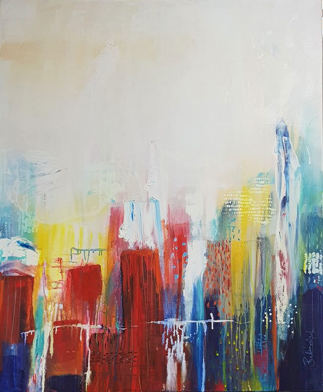 Abstract Cities Painting Mixed Media Sydney Artist