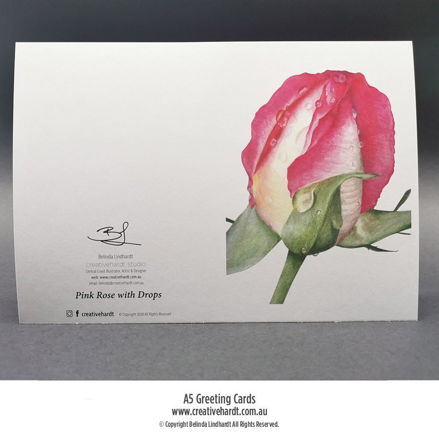 Art Greeting Cards - Pink Rose with Water Drops