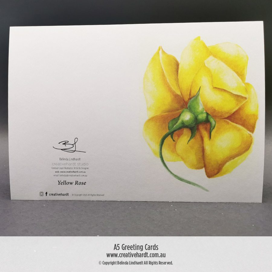 Art Greeting Cards -Yellow Rose by Australian Artist Belinda Lindhardt