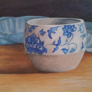 Blue Swirl Pot - Art by Belinda Lindhardt