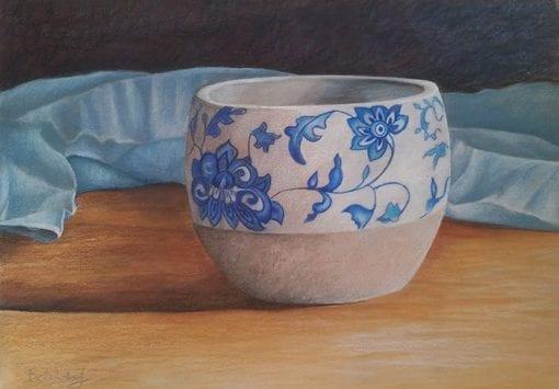 Blue Swirl Pot - Art by Belinda Lindhardt