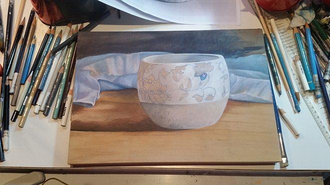 Contemporary Artwork Still Life - Australian Artist- Belinda- Blue Swirl Pot 2