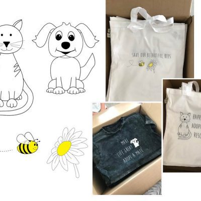 Cat, Dog & Bee Illustration - creativehardt studio