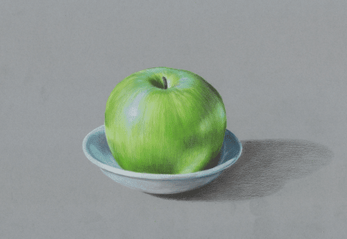 Green Apple Coloured Pencil Artwork by Australian Artist Belinda Lindhardt