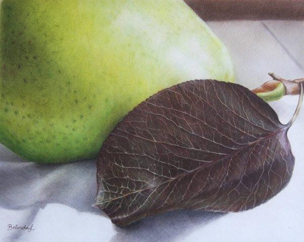 Luscious Pear Coloured Pencil Artwork by Australian Artist Belinda Lindhardt