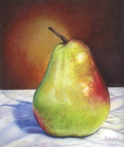 Lonely Pear - Coloured Pencil Artwork by Australian Artist Belinda Lindhardt