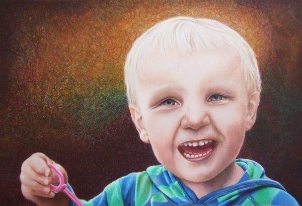 Will's Bubbles - Coloured Pencil Portrait Artwork by Australian Artist Belinda Lindhardt