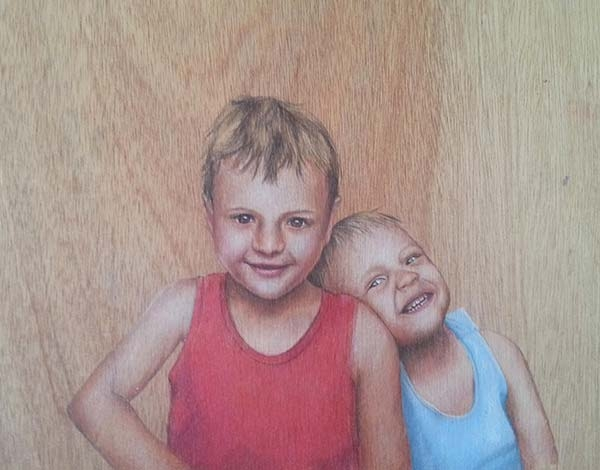 Brotherly Love - Coloured Pencil Portrait Artwork by Australian Artist Belinda Lindhardt