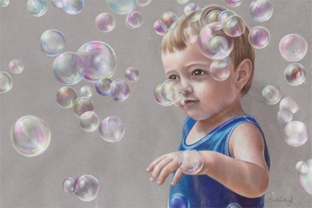 Maxy's Bubbles - Coloured Pencil Portrait by Australian Artist Belinda Lindhardt