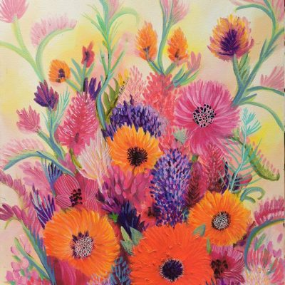 Spring Pink - Floral Painting for sale - Belinda Lindhardt