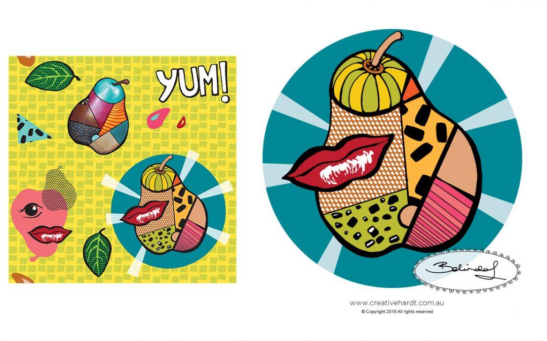 Pop Art Pears - Illustration -Retro - Belinda Lindhardt