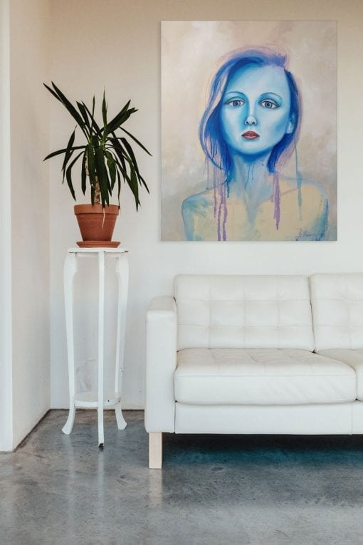 Inner Blue Essence - Figurative Painting by Sydney Artist - Belinda Lindhardt