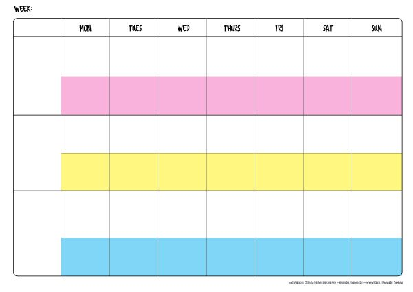 Free Weekly Family Schedule Template – 3 people