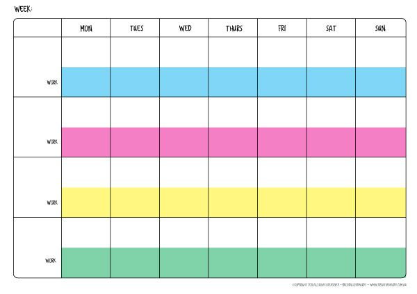 Weekly Family Schedule Template – 4 people - FREE Printable
